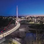 Iconic Pedestrian Bridge Over Scioto River Connects City Life Of Dublin Ohaio