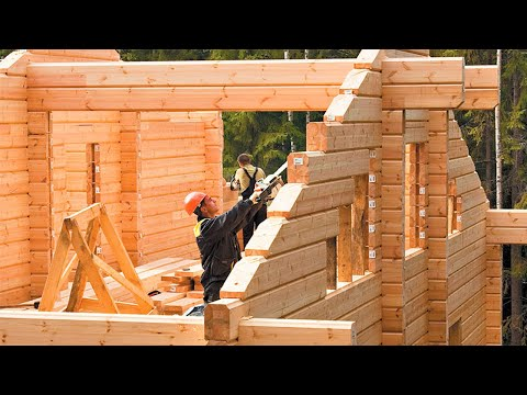 Incredible Fastest Wooden House Construction Method – Amazing Intelligent Log House Building