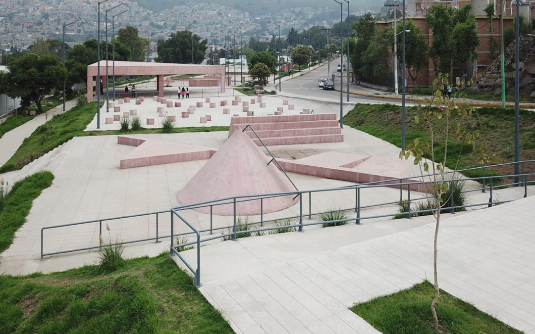 Productora designs pink concrete playgrounds in Mexico