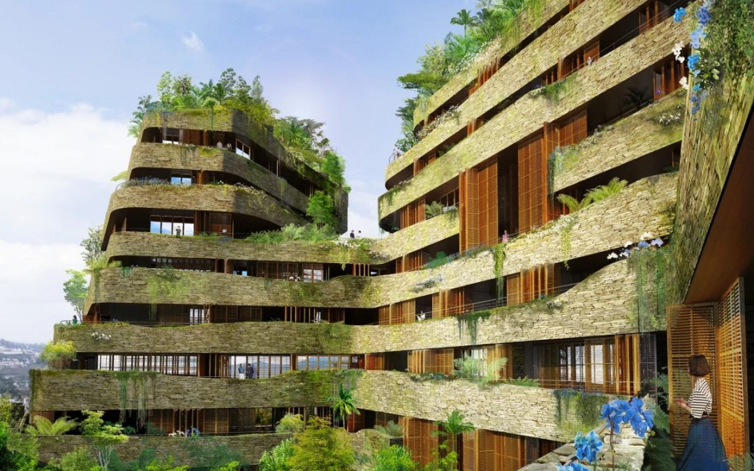 Greenery Covered High-rise Project Echoes Rugged Mountain Landscape