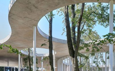 Balčytis Studija Tops Vilkaviškis Bus Station in Lithuania with Undulating Concrete Roof